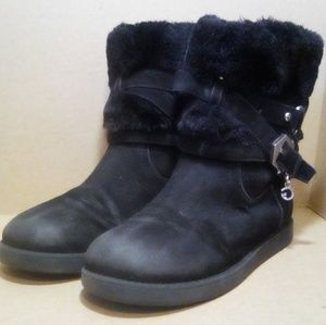 Black Suede Fur Lined 'G' by Guess Ankle Boots